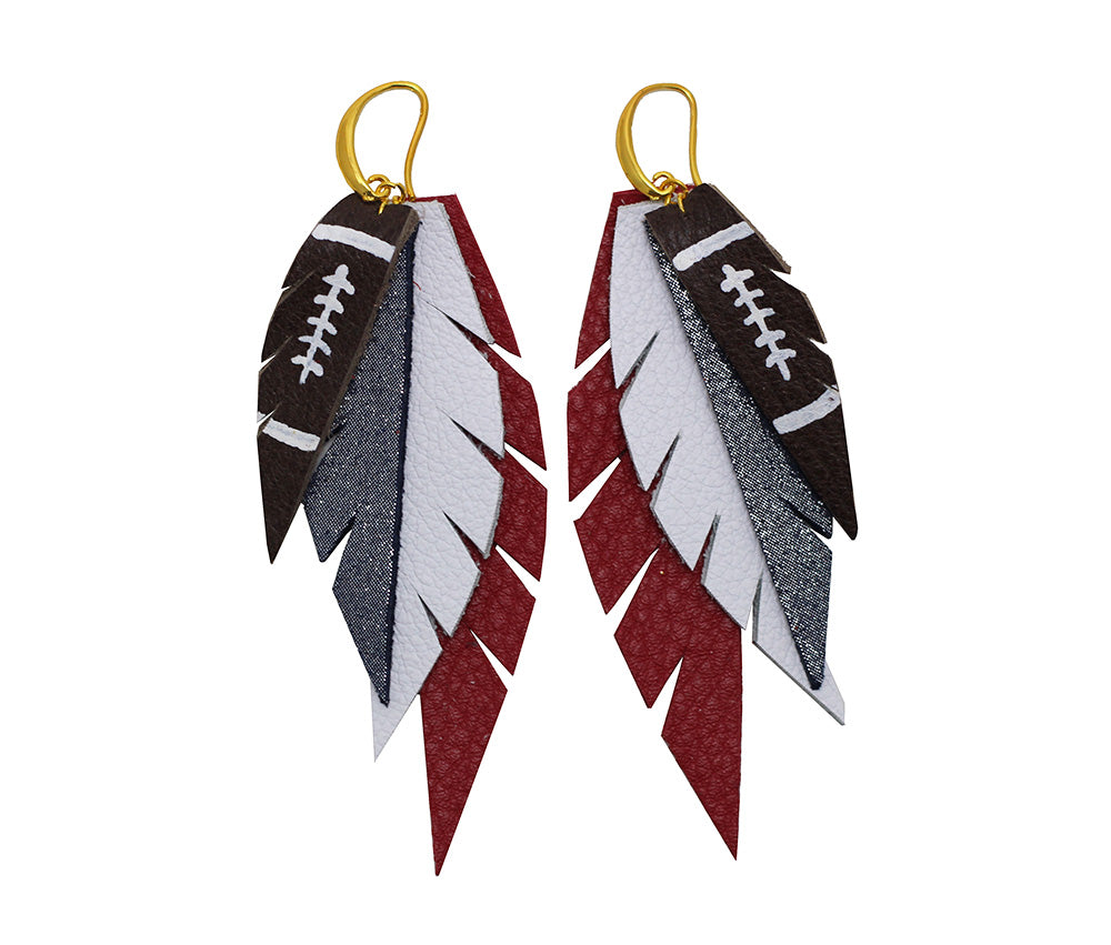 Layered Leather Football Earring- Red White and Blue