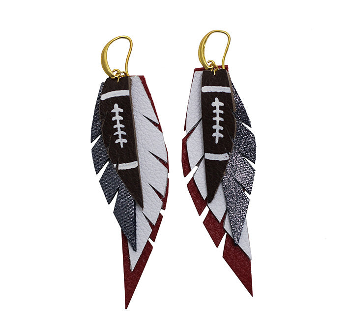 Layered Leather Football Earring- Red White and Blue-Layered Leather Earrings-Wholesale-Boutique-Clothing-Accessories