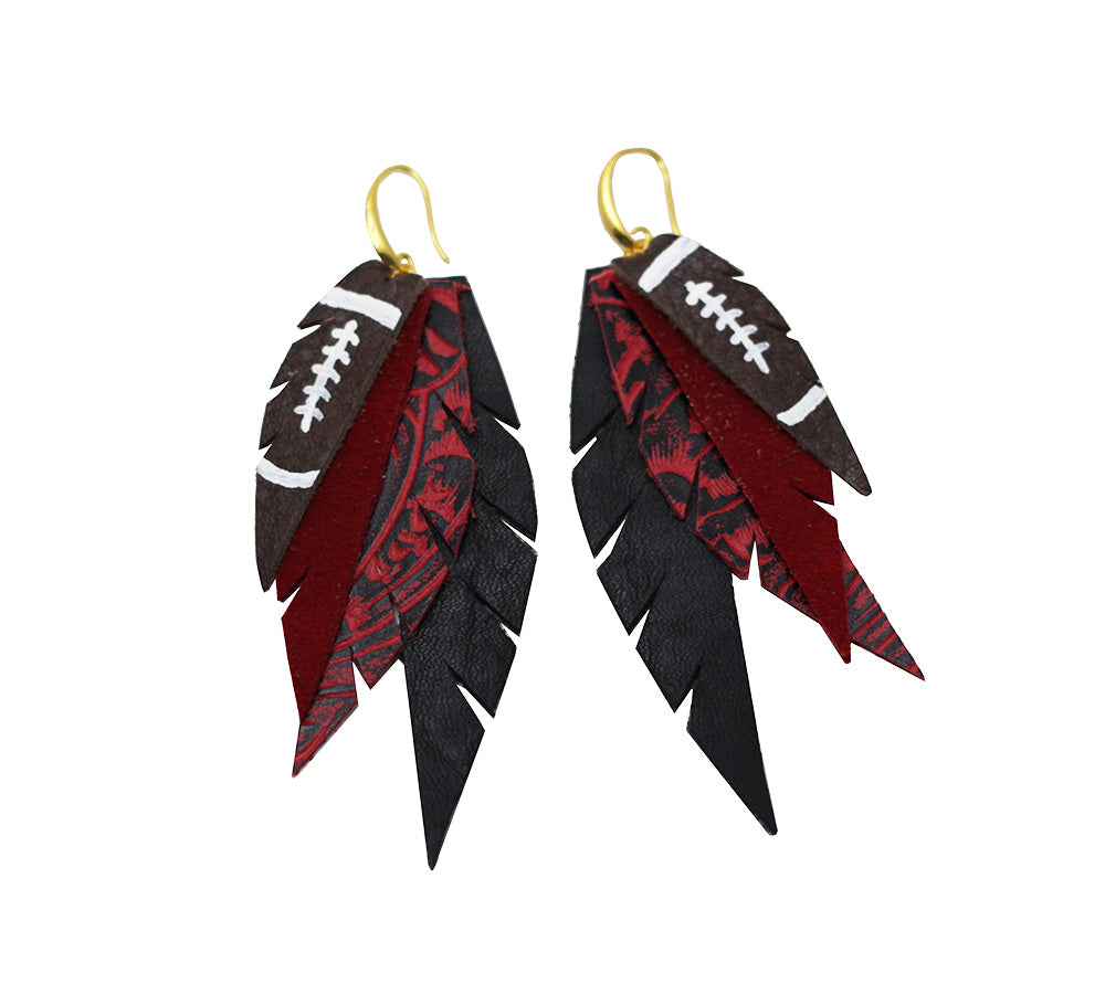 Layered Leather Football Earring- Red Black