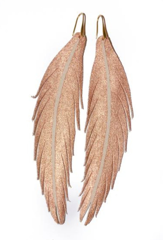 Long Feather Leather Earring - Rose Gold Painted-Long Feather Leather Earrings-Wholesale-Boutique-Clothing-Accessories