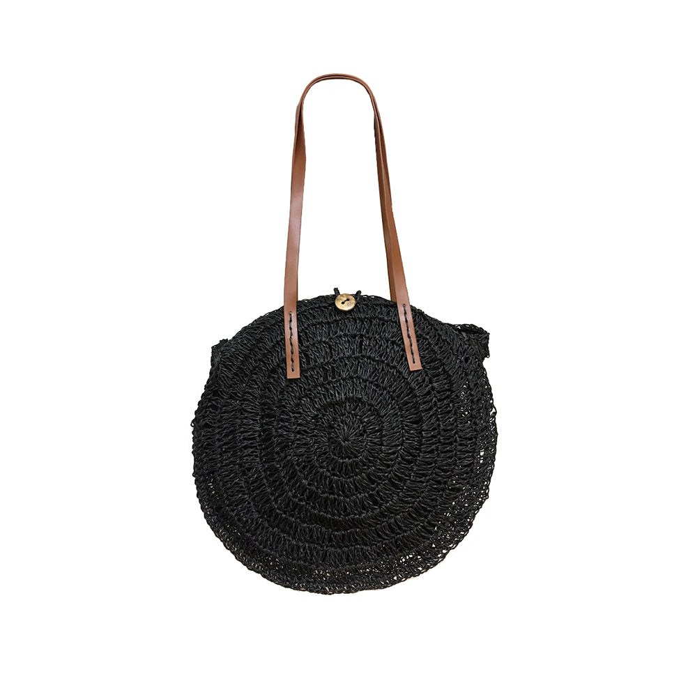 Round Straw Bag - Black-Tote Bags-Wholesale-Boutique-Clothing-Accessories