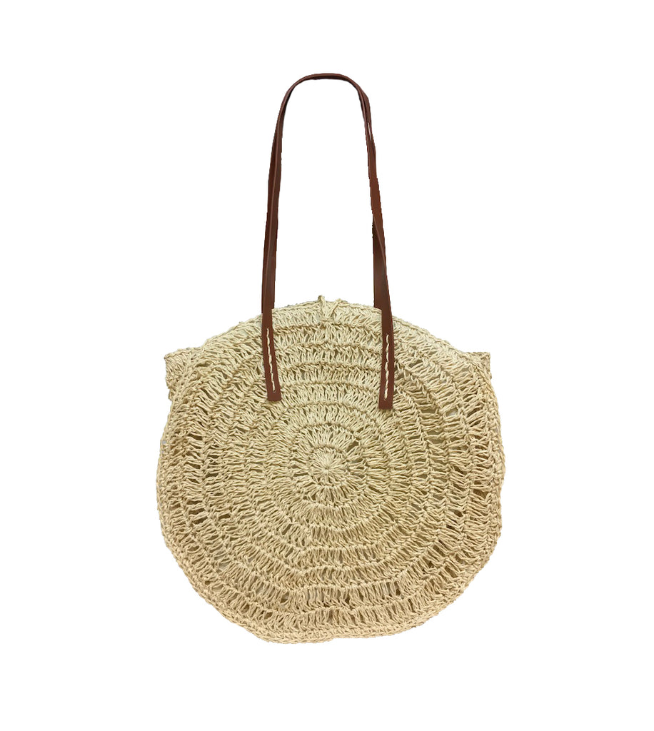Round Straw Bag - Ivory-Tote Bags-Wholesale-Boutique-Clothing-Accessories