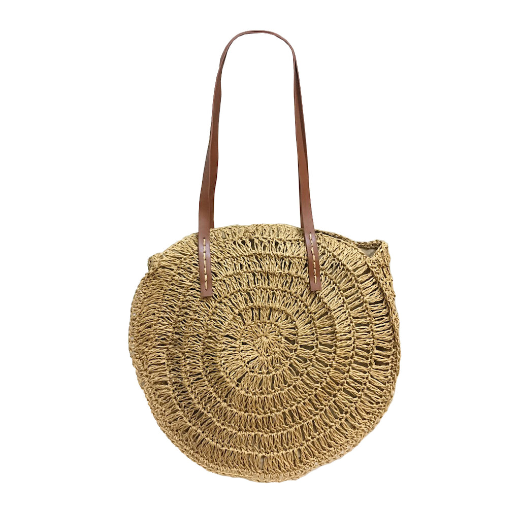Round Straw Bag - Natural-Tote Bags-Wholesale-Boutique-Clothing-Accessories