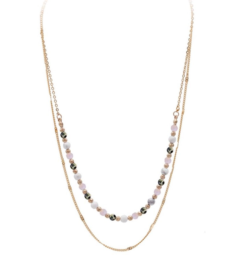 Rylee Beaded Layered Necklace - Pink-Necklaces-Wholesale-Boutique-Clothing-Accessories