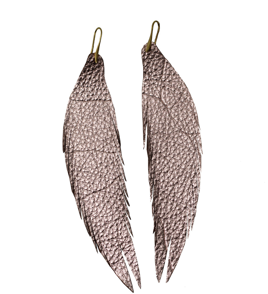 Long Feather Leather Earring - Rose Gold Pebbled-Long Feather Leather Earrings-Wholesale-Boutique-Clothing-Accessories