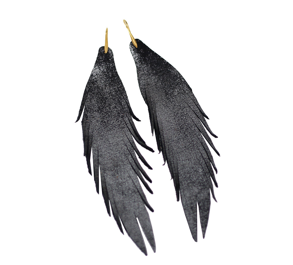 Long Feather Leather Earring - Black Metallic-Long Feather Leather Earrings-Wholesale-Boutique-Clothing-Accessories