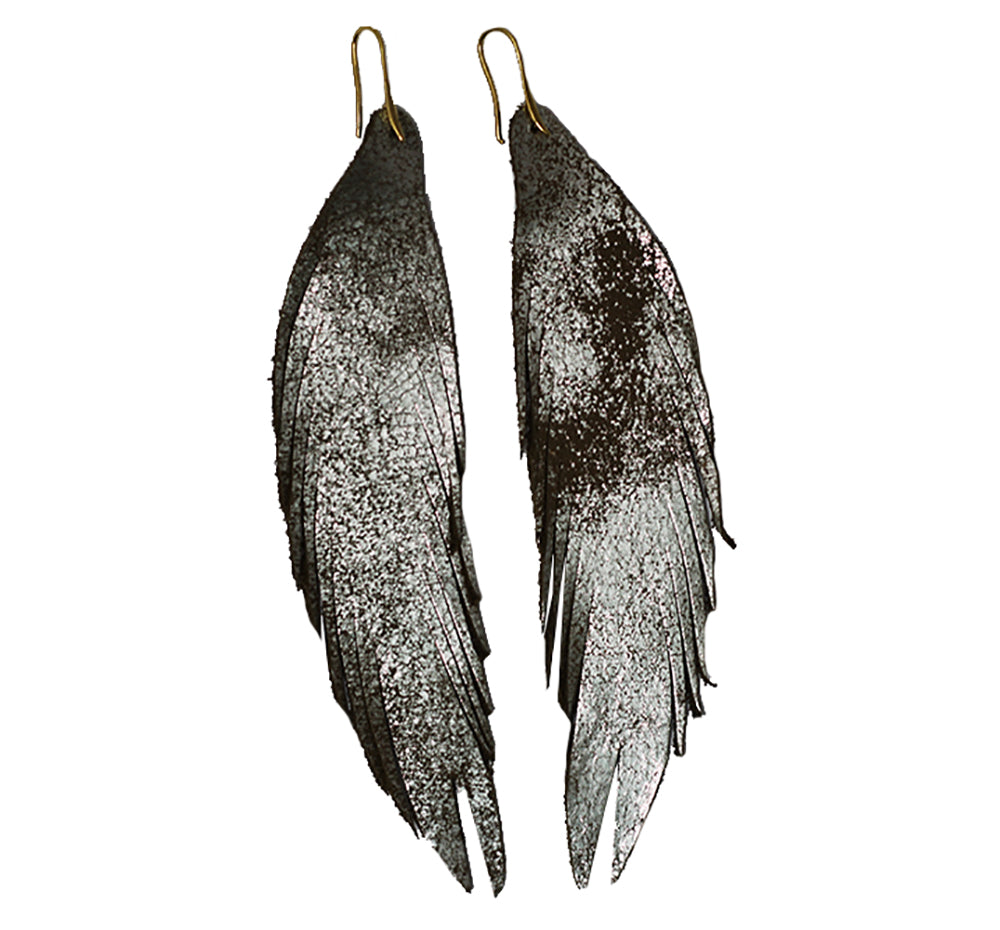 Long Feather Leather Earring - Gold Metallic-Long Feather Leather Earrings-Wholesale-Boutique-Clothing-Accessories