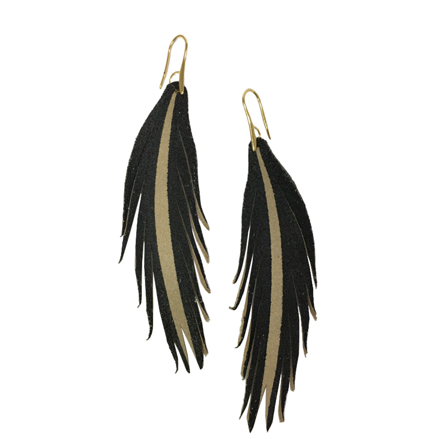 Short Feather Leather Earring - Black Painted-Short Feather Leather Earrings-Wholesale-Boutique-Clothing-Accessories