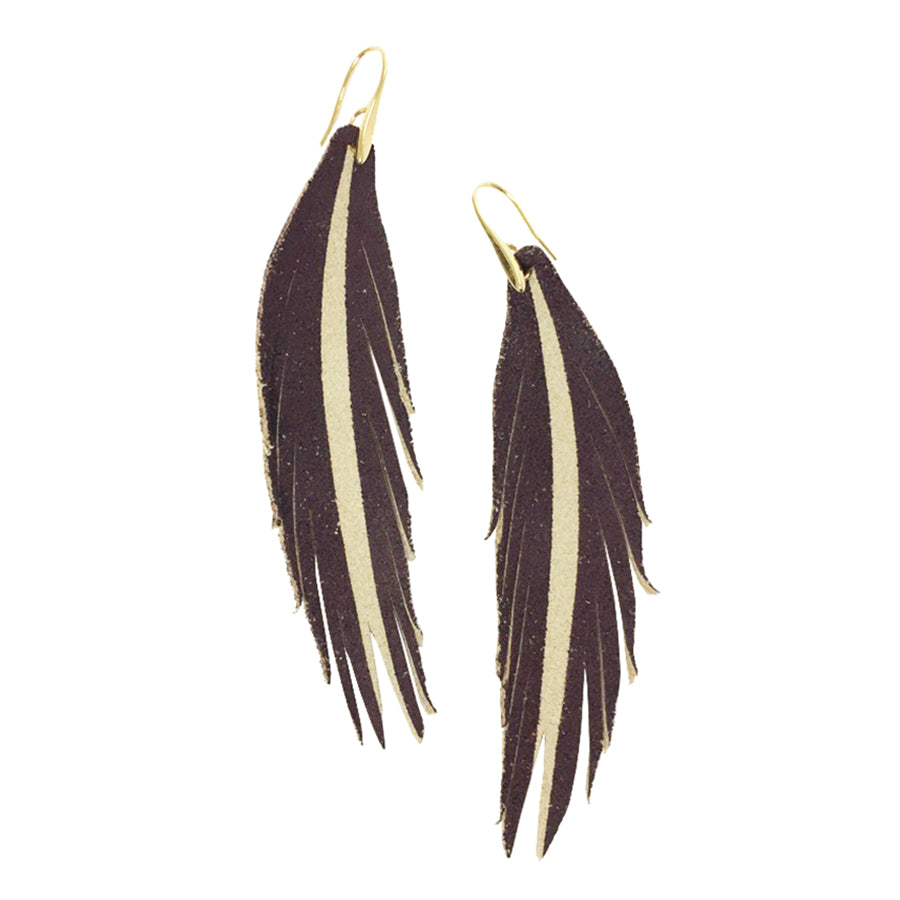 Short Feather Leather Earring - Burgundy Painted-Short Feather Leather Earrings-Wholesale-Boutique-Clothing-Accessories