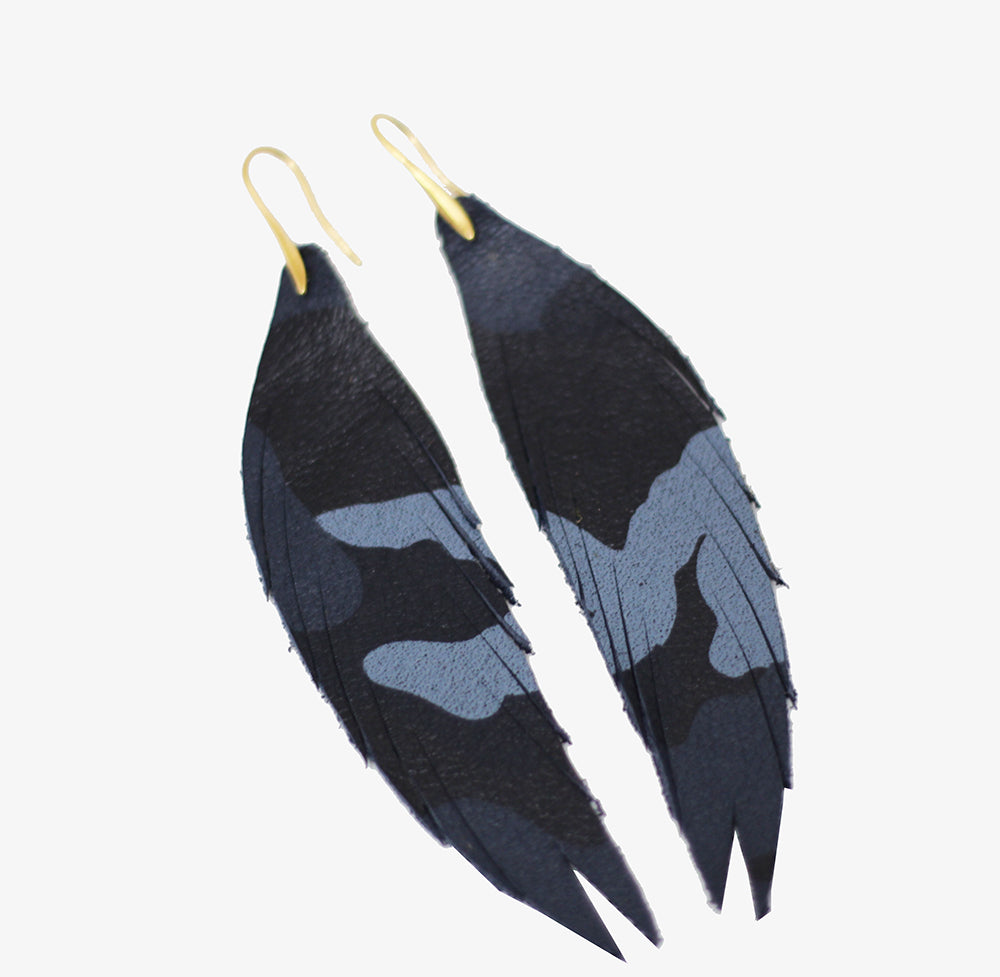 Short Feather Leather Earring - Camo Blue-Short Feather Leather Earrings-Wholesale-Boutique-Clothing-Accessories