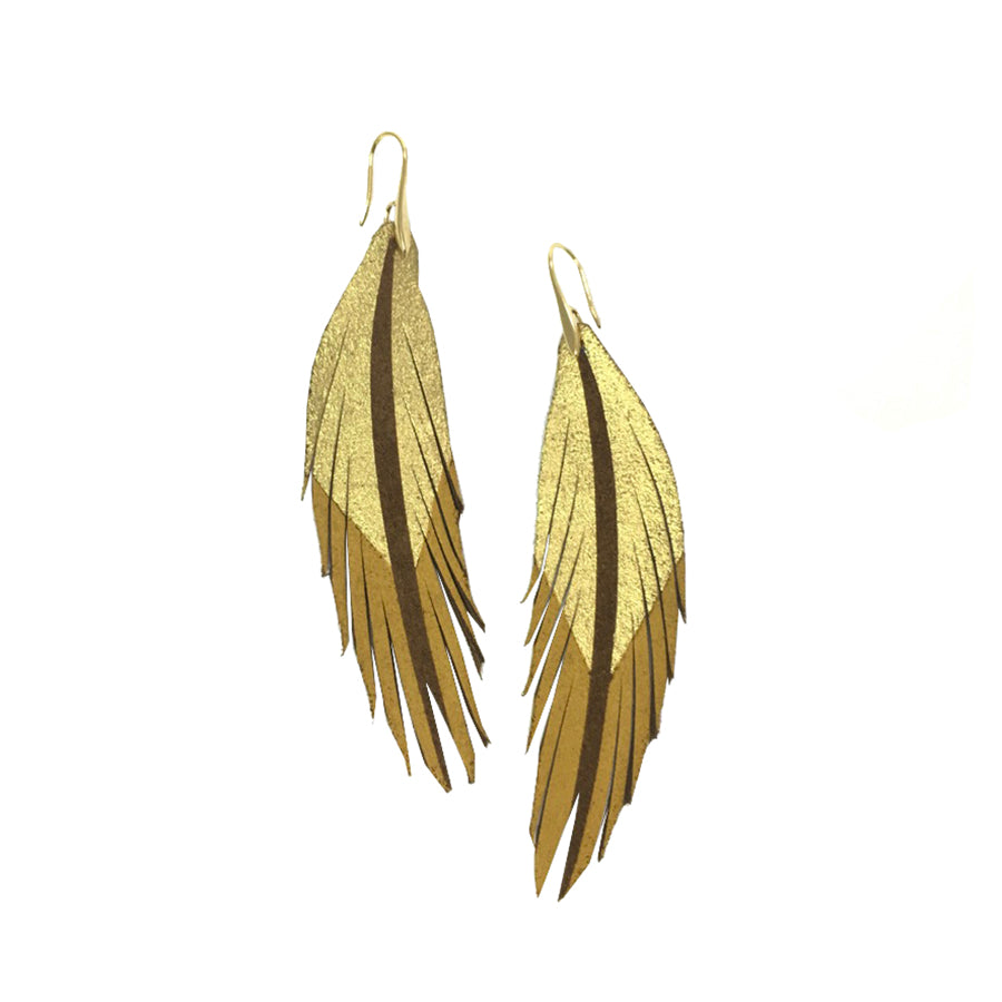 Short Feather Leather Earrings - Dark Brown Suede Gold/Mustard Painted-Short Feather Leather Earrings-Wholesale-Boutique-Clothing-Accessories