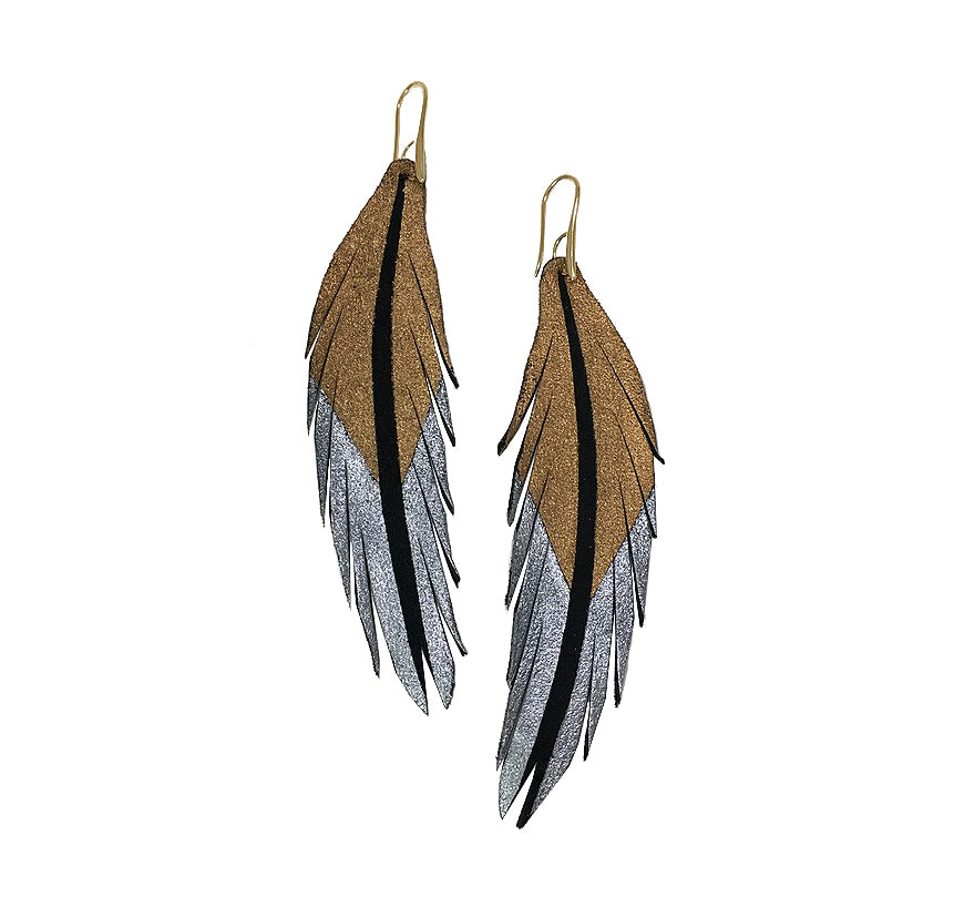Short Feather Leather Earrings - Bronze Pewter Painted-Short Feather Leather Earrings-Wholesale-Boutique-Clothing-Accessories