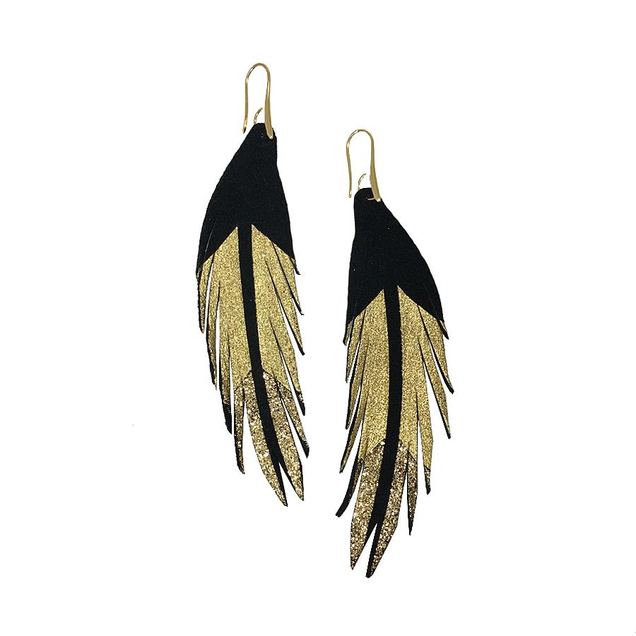Short Feather Leather Earrings - Gold Glitter Painted-Short Feather Leather Earrings-Wholesale-Boutique-Clothing-Accessories