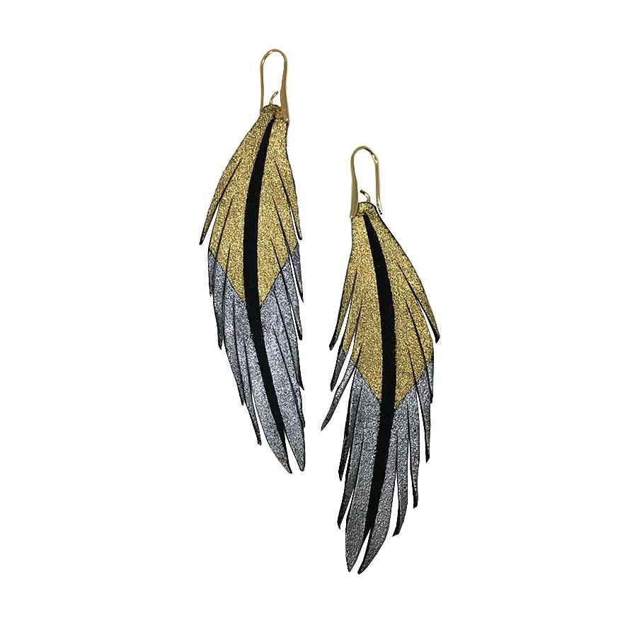 Short Feather Leather Earrings - Gold Silver Painted-Short Feather Leather Earrings-Wholesale-Boutique-Clothing-Accessories