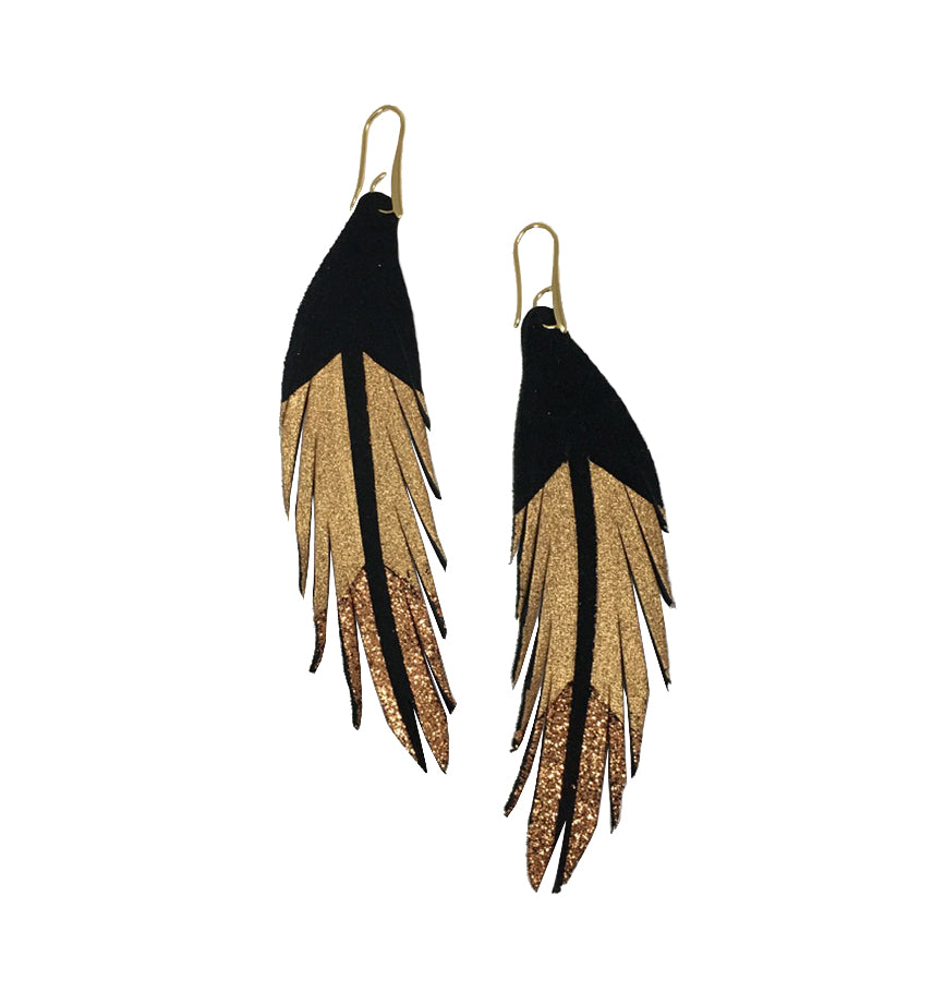 Short Feather Leather Earrings - Rose Gold Glitter Painted-Short Feather Leather Earrings-Wholesale-Boutique-Clothing-Accessories