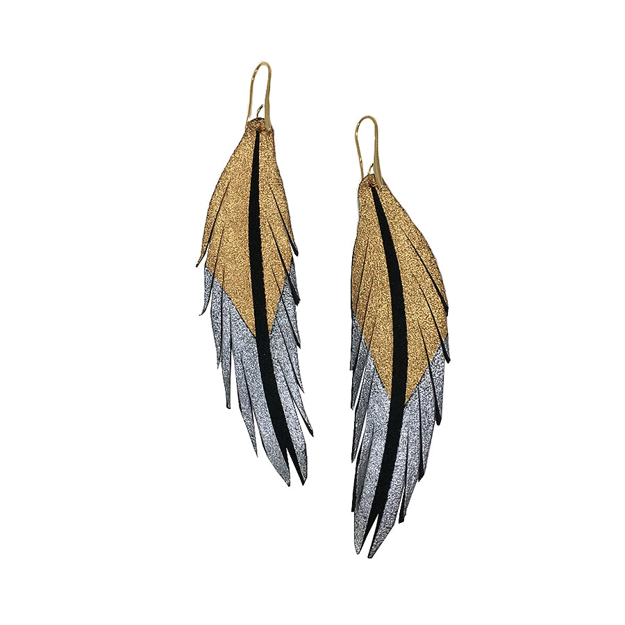 Short Feather Leather Earrings - Rose Gold Silver Painted-Short Feather Leather Earrings-Wholesale-Boutique-Clothing-Accessories
