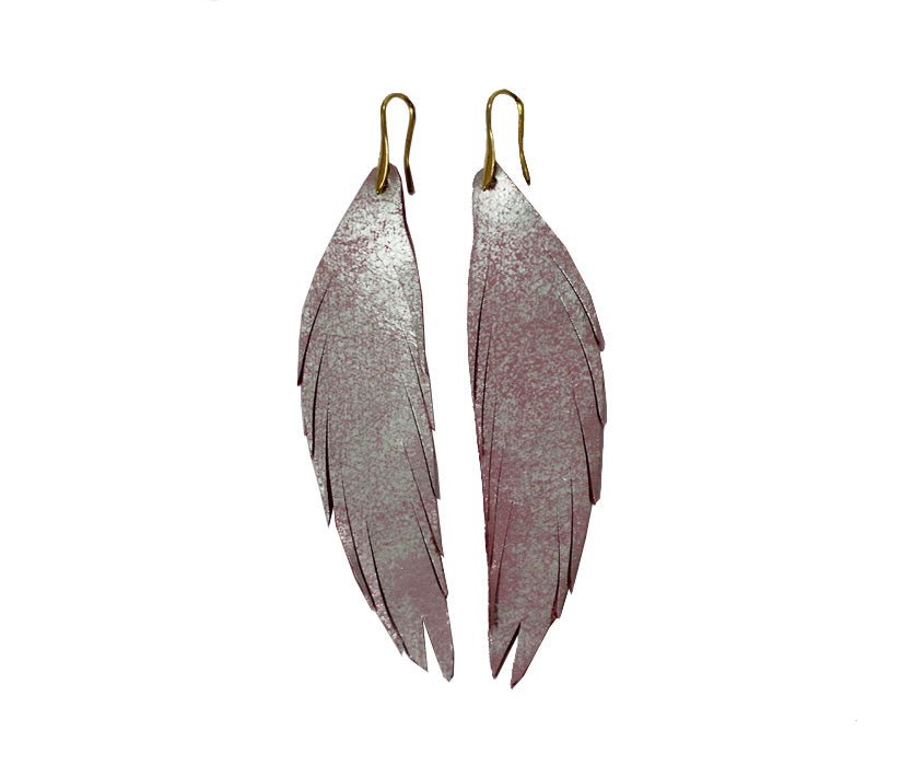 Long Feather Leather Earring - Pink Metallic-Long Feather Leather Earrings-Wholesale-Boutique-Clothing-Accessories