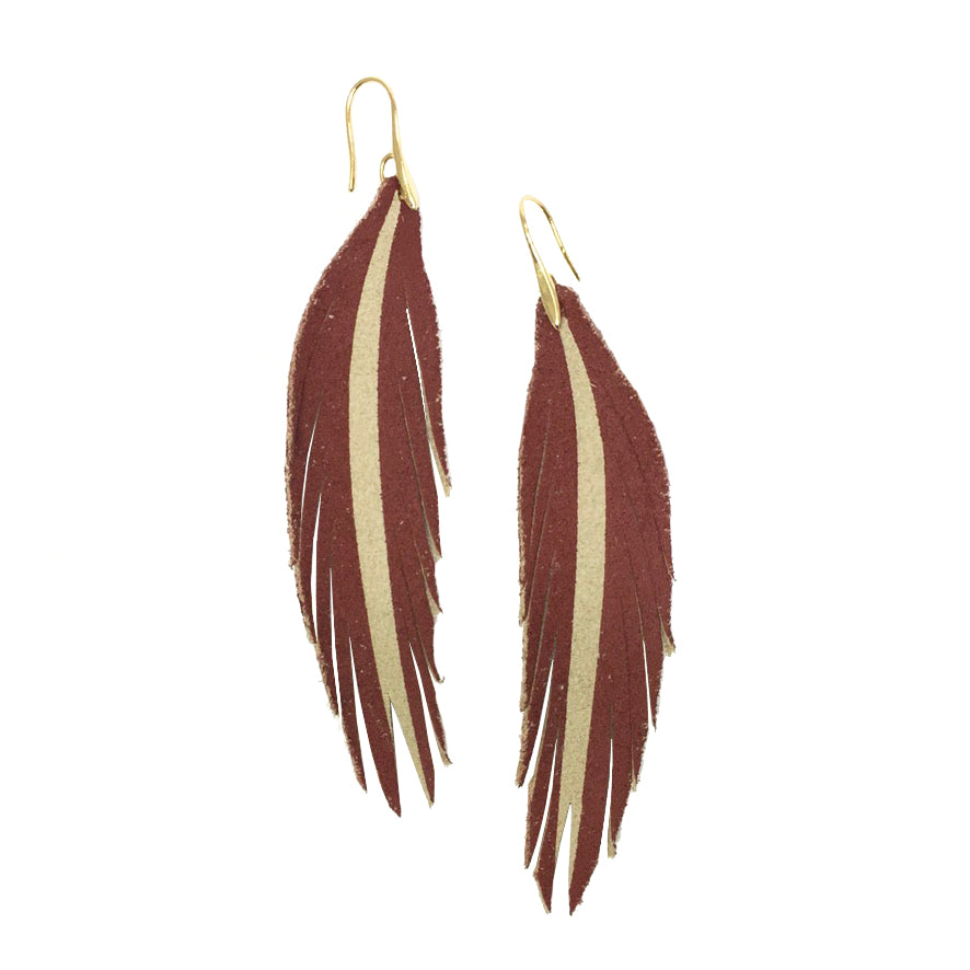 Short Feather Leather Earring - Autumn Red Painted-Short Feather Leather Earrings-Wholesale-Boutique-Clothing-Accessories