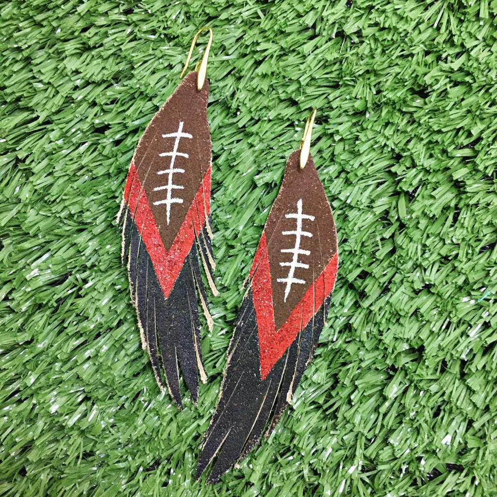Short Feather Leather Earring - Football Painted-Short Feather Leather Earrings-Wholesale-Boutique-Clothing-Accessories