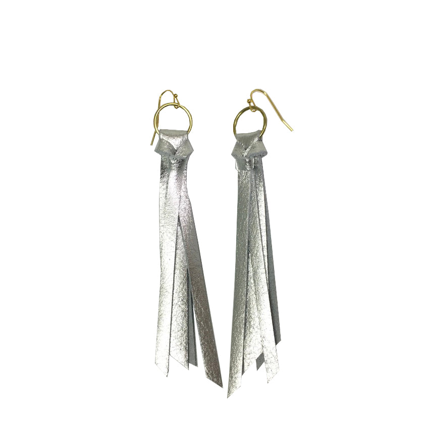 Tassel Leather Earring - Silver Pebbled-Tassel Leather Earrings-Wholesale-Boutique-Clothing-Accessories