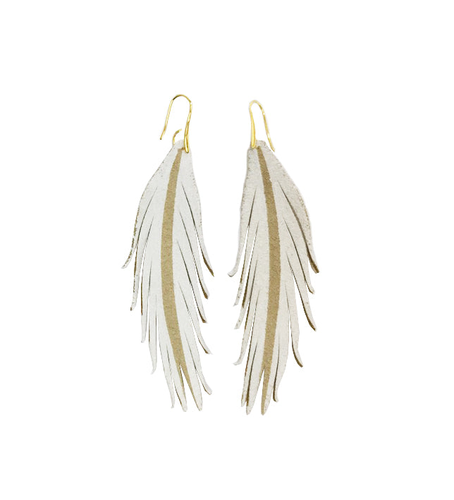Short Feather Leather Earrings - White Painted-Short Feather Leather Earrings-Wholesale-Boutique-Clothing-Accessories