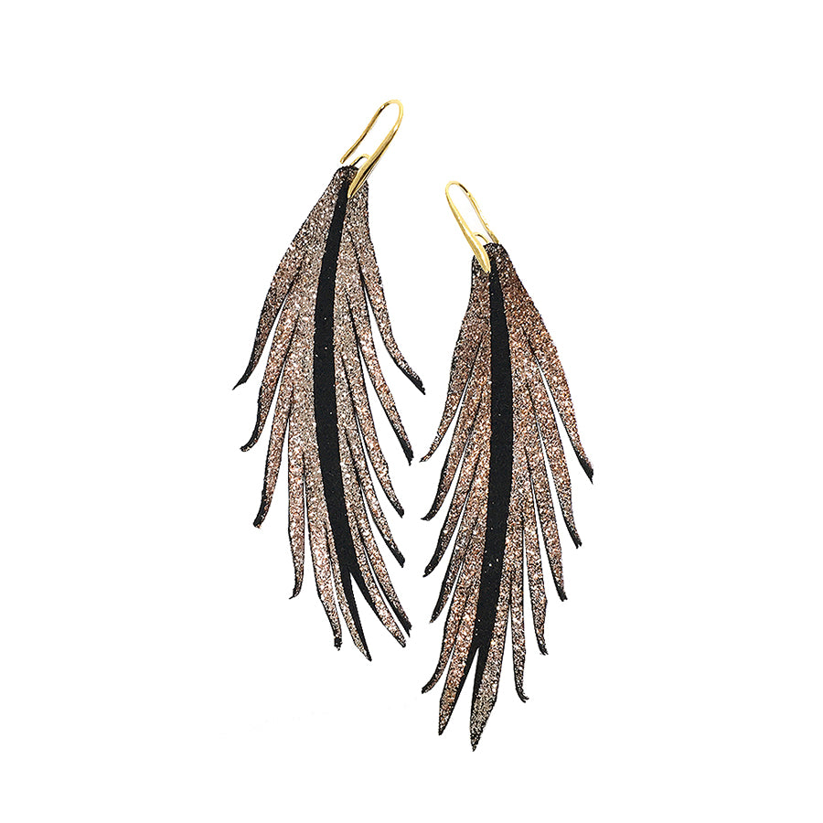Short Feather Leather Black Suede Earring - Copper Glitter-Short Feather Leather Earrings-Wholesale-Boutique-Clothing-Accessories