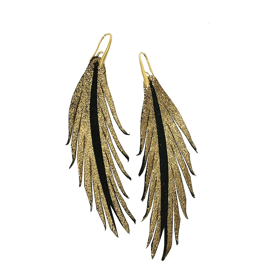 Short Feather Leather Black Suede Earring - Gold Glitter-Short Feather Leather Earrings-Wholesale-Boutique-Clothing-Accessories