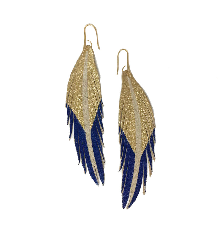 Short Feather Leather Earrings - Gold/Cobalt Painted-Short Feather Leather Earrings-Wholesale-Boutique-Clothing-Accessories