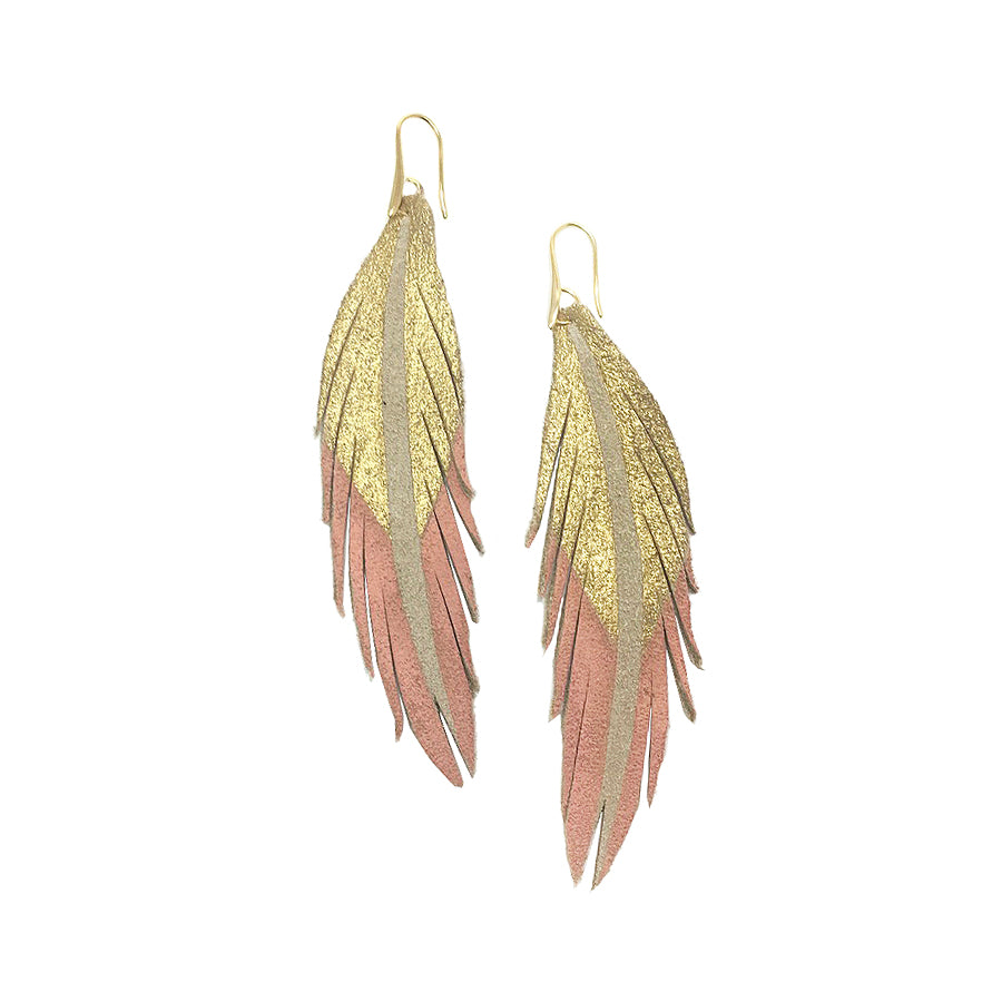 Short Feather Leather Earrings - Gold/Peachy Pink Painted-Short Feather Leather Earrings-Wholesale-Boutique-Clothing-Accessories