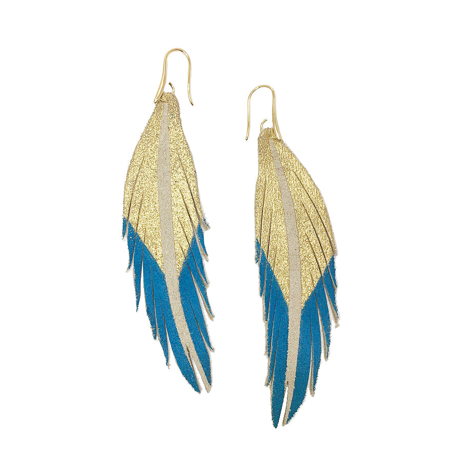 Short Feather Leather Earrings - Gold/Turquoise Painted-Short Feather Leather Earrings-Wholesale-Boutique-Clothing-Accessories