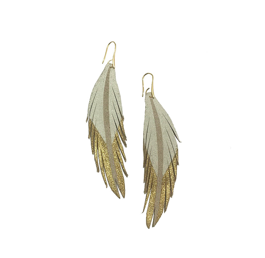 Short Feather Leather Earrings - White/Gold Painted-Short Feather Leather Earrings-Wholesale-Boutique-Clothing-Accessories