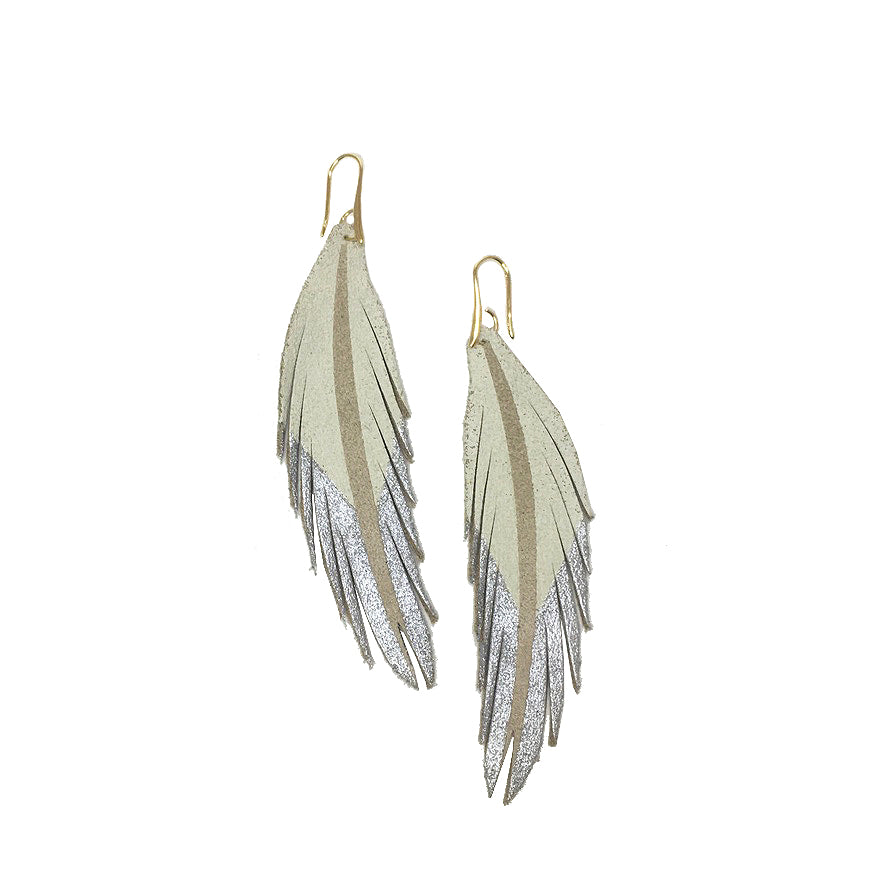 Short Feather Leather Earrings - White/Silver Painted-Short Feather Leather Earrings-Wholesale-Boutique-Clothing-Accessories