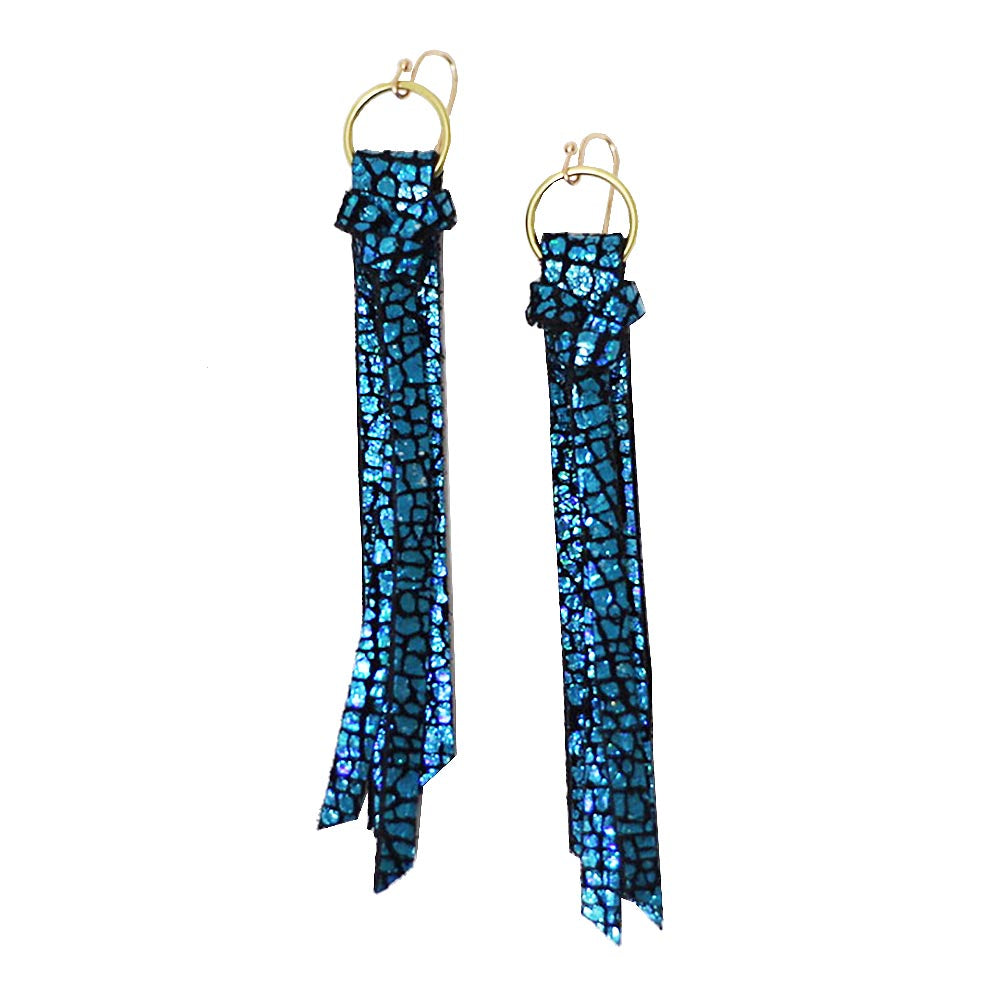 Tassel Leather Earring - Teal Crackle-Tassel Leather Earrings-Wholesale-Boutique-Clothing-Accessories