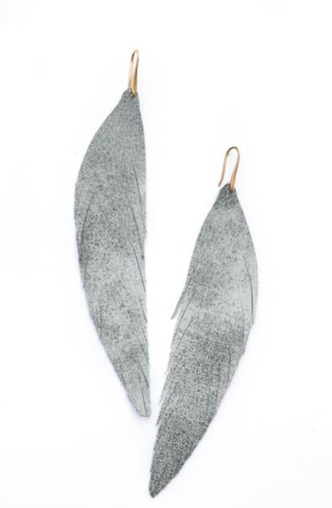 Long Feather Leather Earring - Silver Metallic-Long Feather Leather Earrings-Wholesale-Boutique-Clothing-Accessories