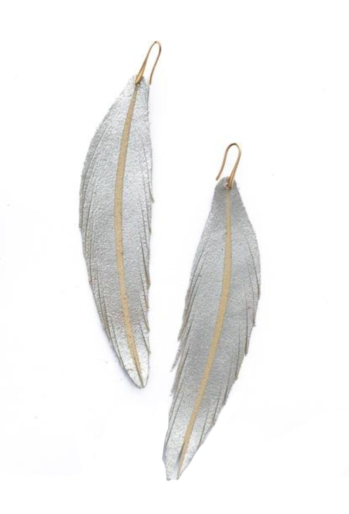 Long Feather Leather Earring - Silver Painted-Long Feather Leather Earrings-Wholesale-Boutique-Clothing-Accessories