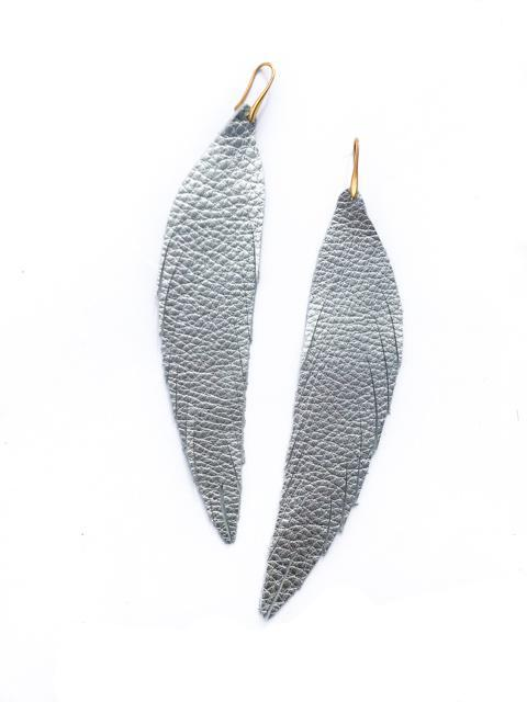 Long Feather Leather Earring - Silver Pebbled-Long Feather Leather Earrings-Wholesale-Boutique-Clothing-Accessories