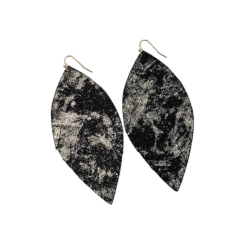Single Layer Leather Earrings - Black Gold Splatter