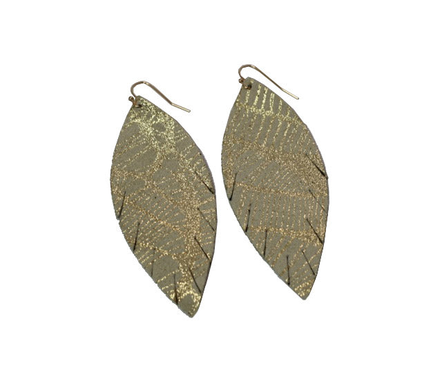 Single Layer Leather Earring - Cream Gold River