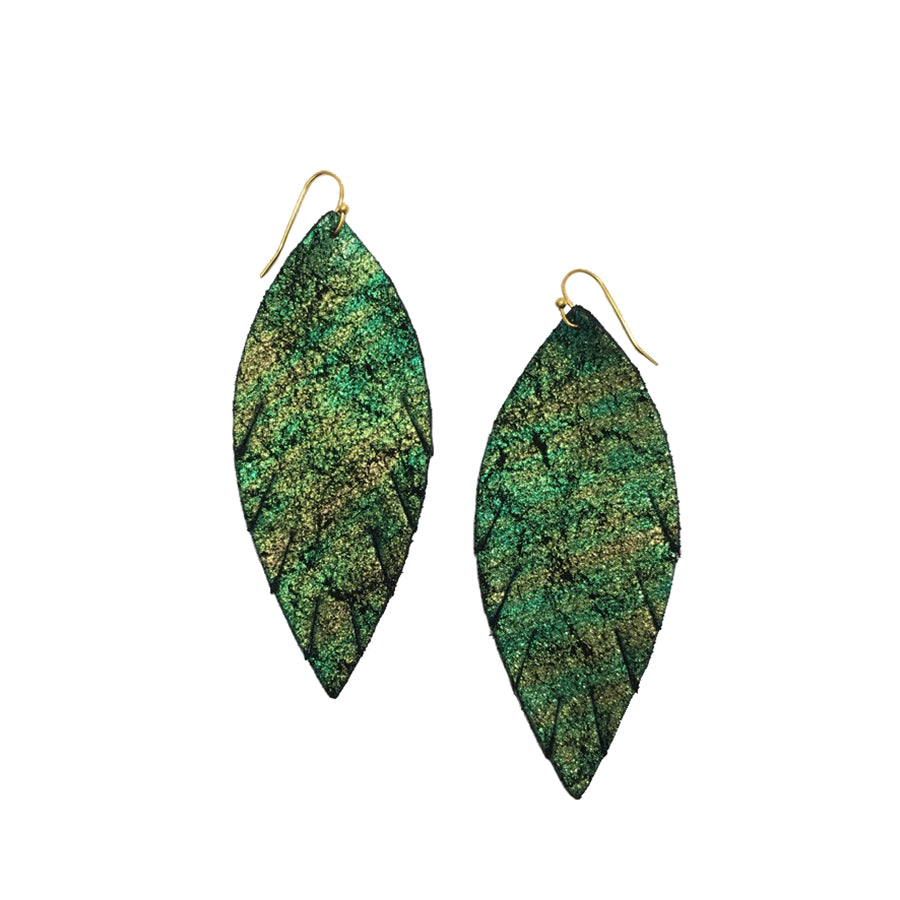 Single Layer Leather Earrings Small Mermaid Green