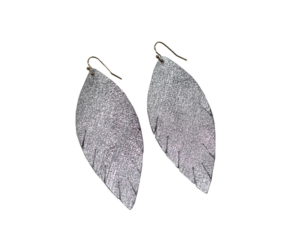 Single Layer Leather Earring - Textured Silver