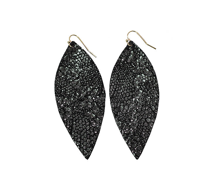 Single Layer Leather Earring - Gunmetal Python