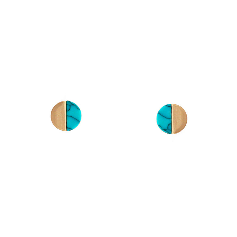 Sophia - Worn Gold Turquoise-Earrings-Wholesale-Boutique-Clothing-Accessories