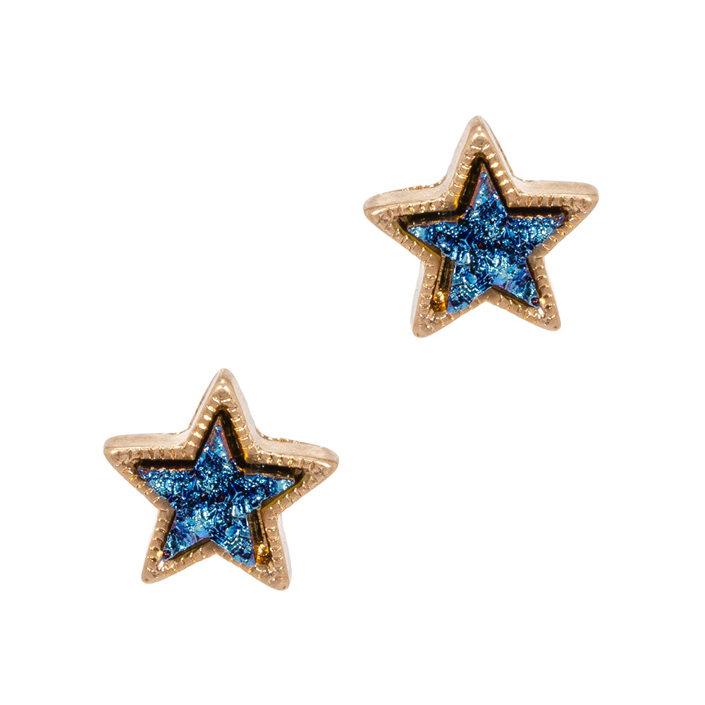 Zariah Star Stud Earrings - Navy-Earrings-Wholesale-Boutique-Clothing-Accessories