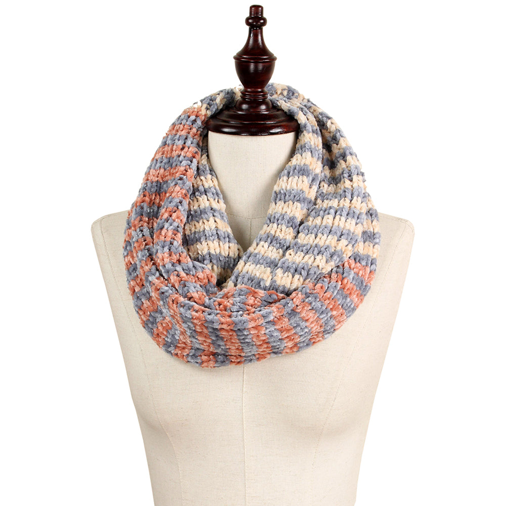 Aviva Chenille Stripe Infinity Scarf - Beige (2 pcs)-Scarves + Wraps-Wholesale-Boutique-Clothing-Accessories