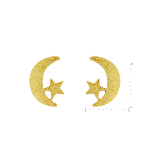 Tallulah Moon Stud Earrings - Brushed Gold-Earrings-Wholesale-Boutique-Clothing-Accessories