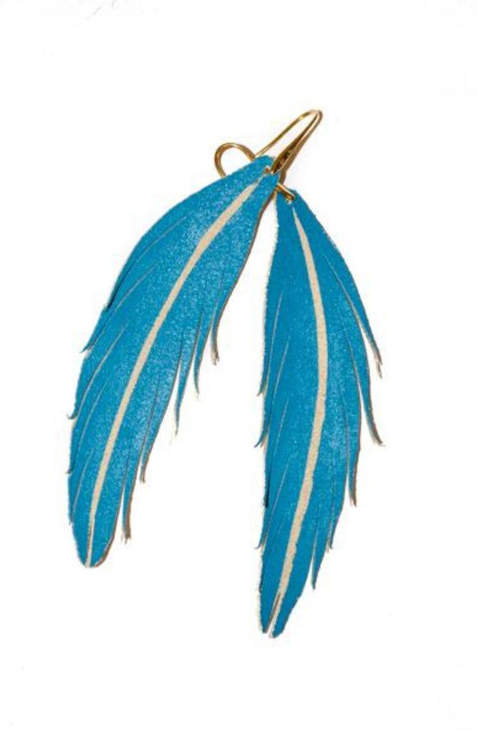 Short Feather Leather Earring - Turquoise Painted-Short Feather Leather Earrings-Wholesale-Boutique-Clothing-Accessories