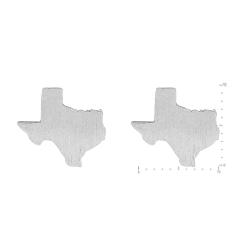 Texas Stud Earrings - Silver-Earrings-Wholesale-Boutique-Clothing-Accessories