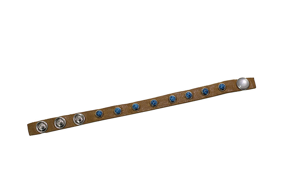 Thin Leather Bracelet - Tan + Turquoise Studs-Leather Bracelets-Wholesale-Boutique-Clothing-Accessories