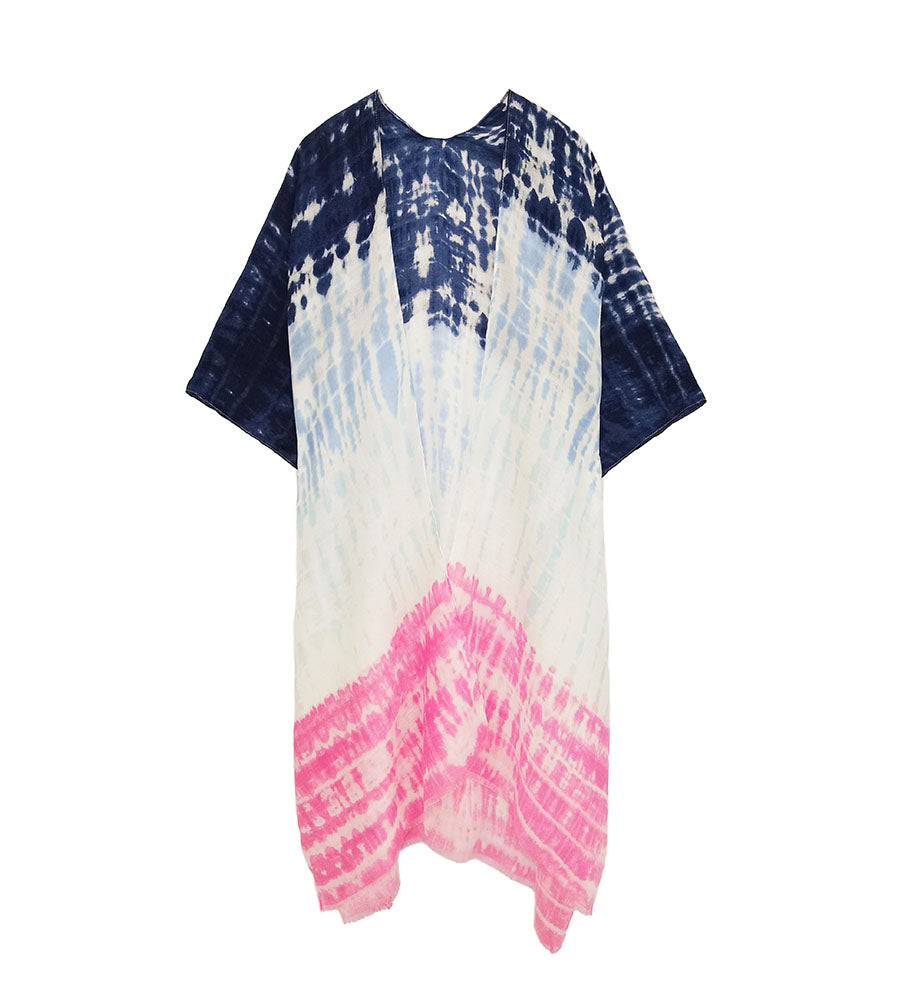 Tori Colorblock Tie Dye Kimono - Navy-Kimonos + Outerwear-Wholesale-Boutique-Clothing-Accessories