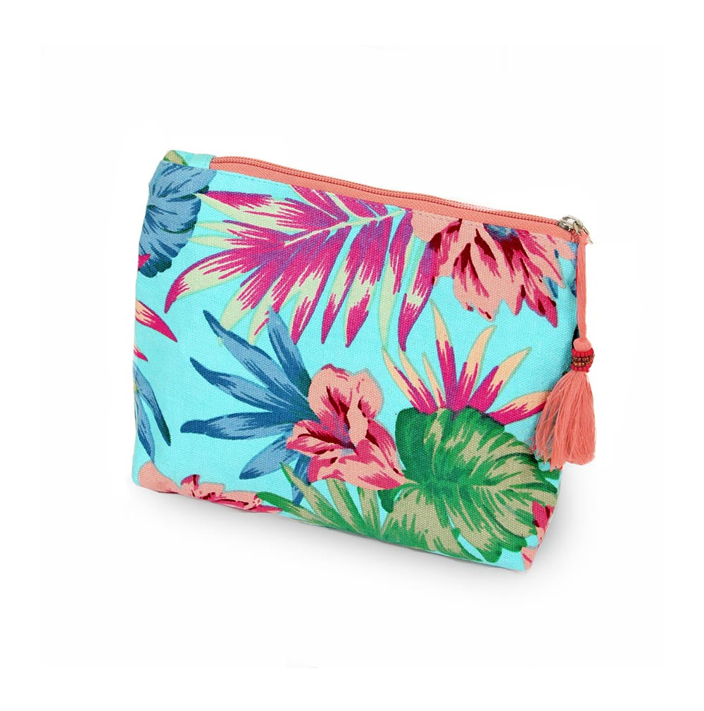 Tropical Pouch - Turquoise-Cosmetic Bags-Wholesale-Boutique-Clothing-Accessories